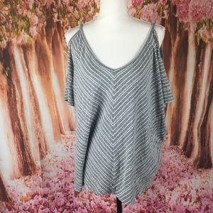 Torrid striped off shoulder blouse 1x